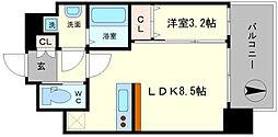 レオンコンフォート難波ブラン 12階1LDKの間取り
