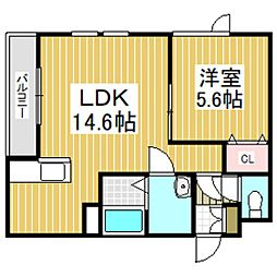 (仮)日新町6丁目新築AP 2階1LDKの間取り