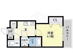 阪急京都本線 正雀駅 徒歩1分の賃貸マンション 2階1Kの間取り