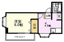 第21クリスタルマンション 2階1Kの間取り