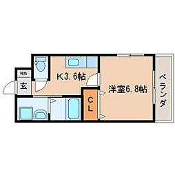 JR東海道本線 静岡駅 バス24分 片山下車 徒歩1分の賃貸マンション 2階1Kの間取り