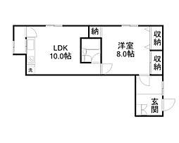 高崎アパート 2階1LDKの間取り