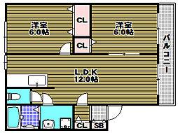 豊永ハイツ[2階]の間取り
