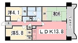 ライオンズマンション広畑正門通[1103号室]の間取り