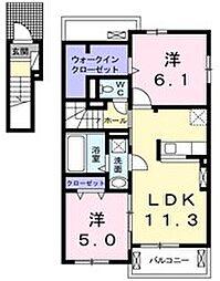 静岡県磐田市大原の賃貸アパートの間取り