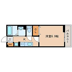 JR関西本線 大和小泉駅 徒歩3分の賃貸アパート 2階1Kの間取り