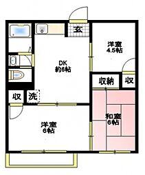 ハイム福岡[2階]の間取り