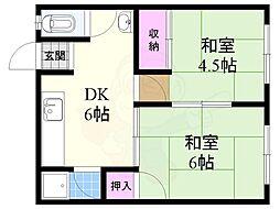 Osaka Metro今里筋線 だいどう豊里駅 徒歩16分の賃貸アパート 2階2DKの間取り