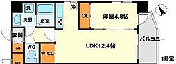 おおさか東線 南吹田駅 徒歩4分の賃貸マンション 5階1LDKの間取り