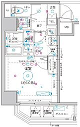 Le'a横濱関内弐番館 4階1Kの間取り