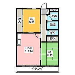 ソレアード篠木[2階]の間取り