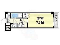JR東海道・山陽本線 岸辺駅 徒歩15分の賃貸マンション 3階1Kの間取り