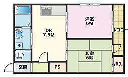 トミー弐番館[4階]の間取り
