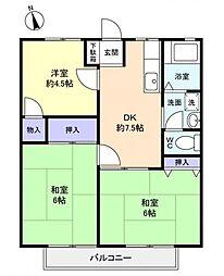 ホワイトハイツII[2階]の間取り