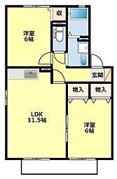 愛知県豊田市上野町4丁目の賃貸アパートの間取り