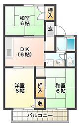 メゾンドエスポワール A棟[2階]の間取り
