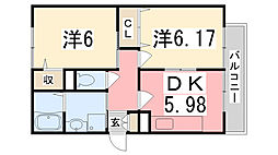 兵庫県加古川市平岡町土山の賃貸アパートの間取り