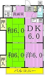 木ノ葉コーポ[2階]の間取り