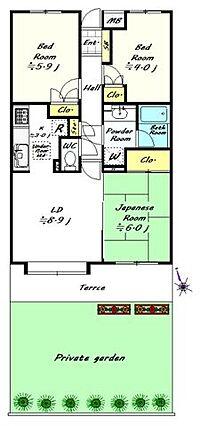 間取り(1階の特権、専用庭があります。3LDKのファミリータイプの間取りです。)