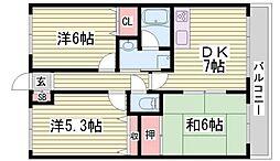 エリータス姫路土山[303号室]の間取り