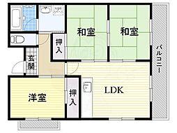 JR東海道・山陽本線 岸辺駅 徒歩25分の賃貸マンション 7階3LDKの間取り