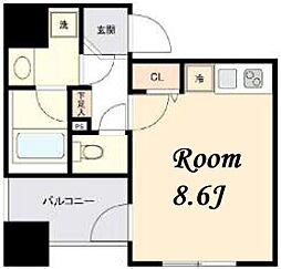 東京メトロ日比谷線 茅場町駅 徒歩5分の賃貸マンション 8階ワンルームの間取り