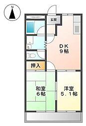 サンハイツ山田 A[202号室]の間取り