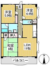 グリーンアートマンション[1階]の間取り