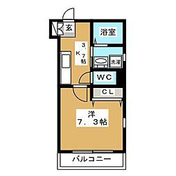 パラドール西蒲田 2階1Kの間取り