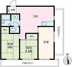 パークサイド南大井[5階]の間取り