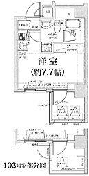 クラリッサ横浜アレッタ 2階ワンルームの間取り