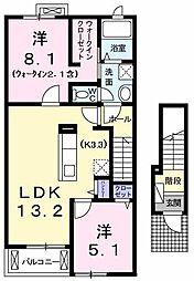 東京都武蔵村山市神明2丁目の賃貸アパートの間取り