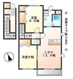 ソレイユトヨダB[2階]の間取り