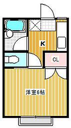 姫宮中央ハイツA[203号室]の間取り