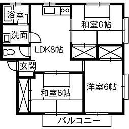 広島県福山市新涯町1丁目の賃貸アパートの間取り