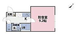 リトルズトーン上野公園[001号室]の間取り