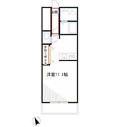JR中央本線 吉祥寺駅 バス10分 野村病院下車 徒歩1分の賃貸アパート 1階ワンルームの間取り