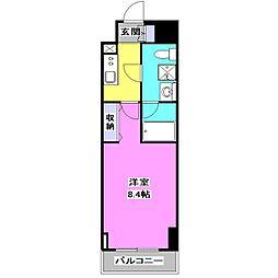 西武池袋線 保谷駅 徒歩3分の賃貸マンション 7階1Kの間取り