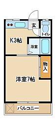 東京都府中市四谷1丁目の賃貸アパートの間取り