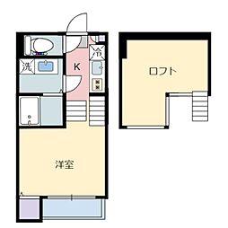 仙台市営南北線 旭ヶ丘駅 徒歩8分の賃貸アパート 1階1Kの間取り