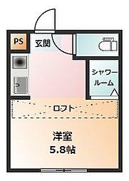 REAL BLOSSOMII芝田 1階ワンルームの間取り