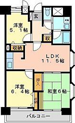 香椎東映マンション 1階3LDKの間取り