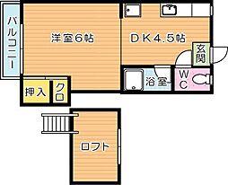 クラブハウス萩原[2階]の間取り