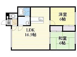 北海道札幌市東区伏古6条3丁目の賃貸アパートの間取り