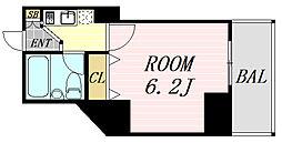 フレア新大阪 5階ワンルームの間取り