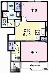 兵庫県姫路市野里大和町の賃貸アパートの間取り