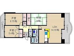 マウントビュー西田中[4階]の間取り