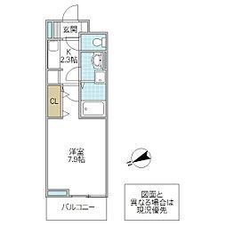 セントジェームスアパートメント 3階1Kの間取り