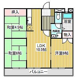 愛知県名古屋市中川区野田1丁目の賃貸マンションの間取り