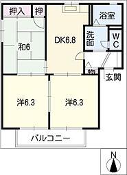 ファーストハイムB[2階]の間取り